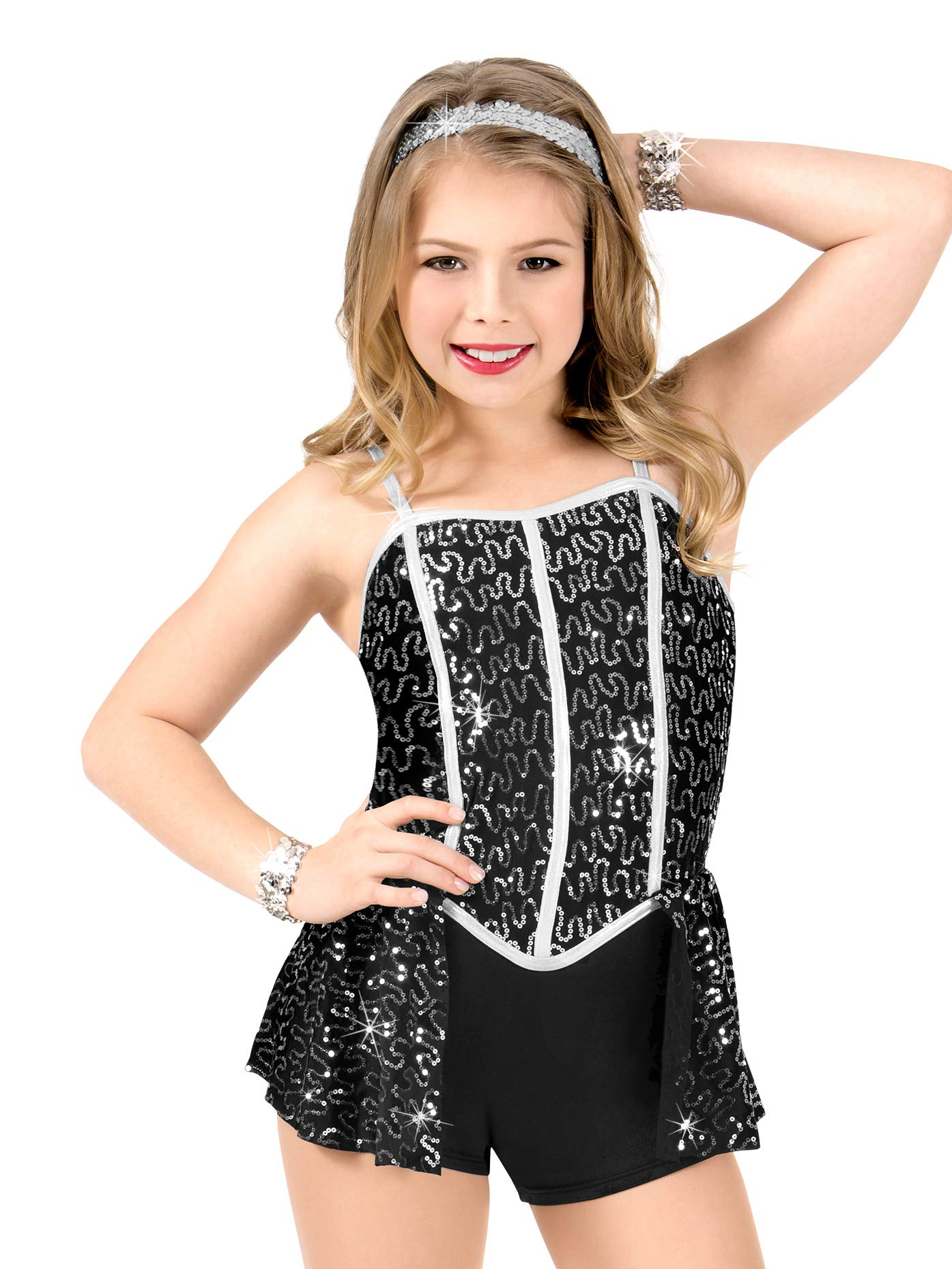 Girls Sequin Camisole Performance Shorty Unitard N7499CBLKM Black Medium by Elisse by Double Platinum