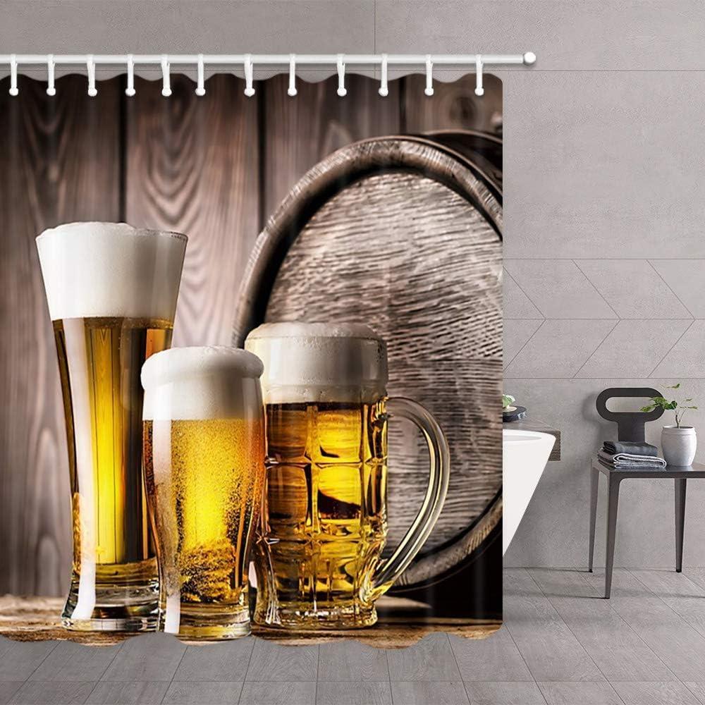 Cortina De Ducha con Tema De Cerveza, Vasos Barriles De Vino De Madera Vieja Actualización De Cortinas De Ducha De Poliéster Accesorios para Cortinas De Baño, con Ganchos De 12 Piezas 122X183CM