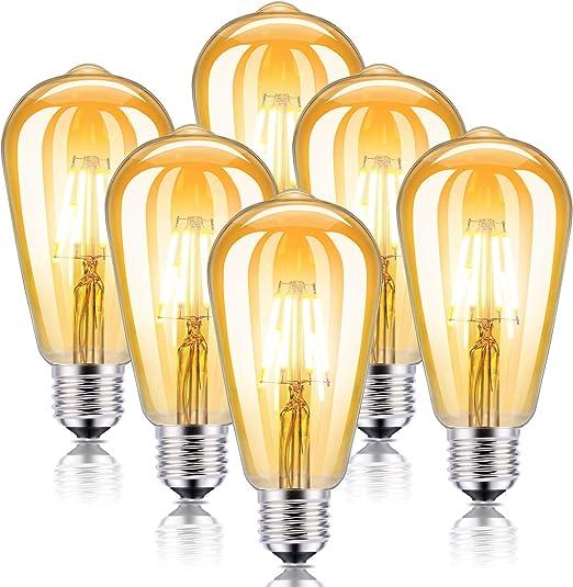 tonitott Lampadina LED Edison 4W E27 Bianco Caldo Decorativa Retro Filamento Lampade Vintage Lampadine Ideale per Casa Lampadina Vintage Edison Bar Ristorante Caffe Negozio