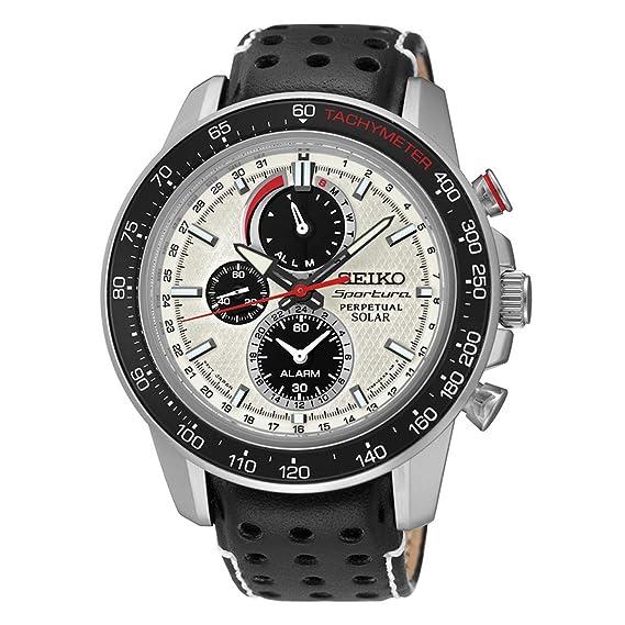 SEIKO SPORTURA Reloj DE Hombre Solar 45MM Correa DE Cuero Caja DE Acero SSC359: Amazon.es: Relojes