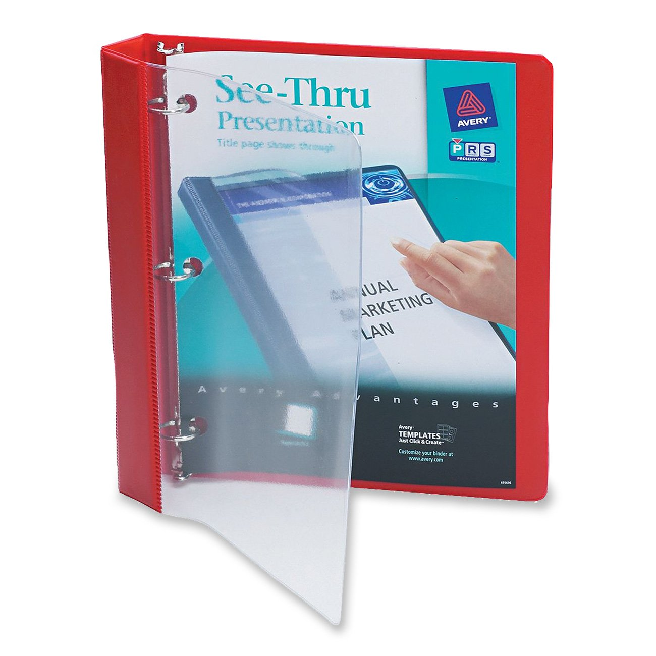 Avery See-Thru Binder with 1-Inch Round Ring, Red (10853)