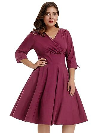 Hanna Nikole Womens Vintage 1950s Style Sleeved Plus Size Swing