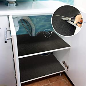 ITSOFT Under The Sink Mat, Premium Shelf Liner, Cabinet Liner, Waterproof Layer, Reusable, Washable 24 x 59 Inches