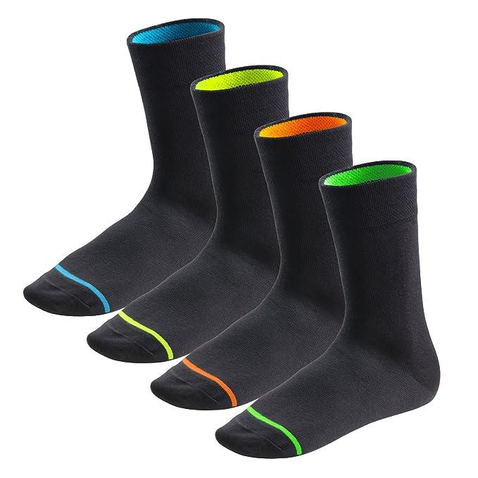 Footstar - Hombres, Mujeres - 8 pares de calcetines NEON GLOW, negros, ajuste cómodo: Amazon.es: Ropa y accesorios