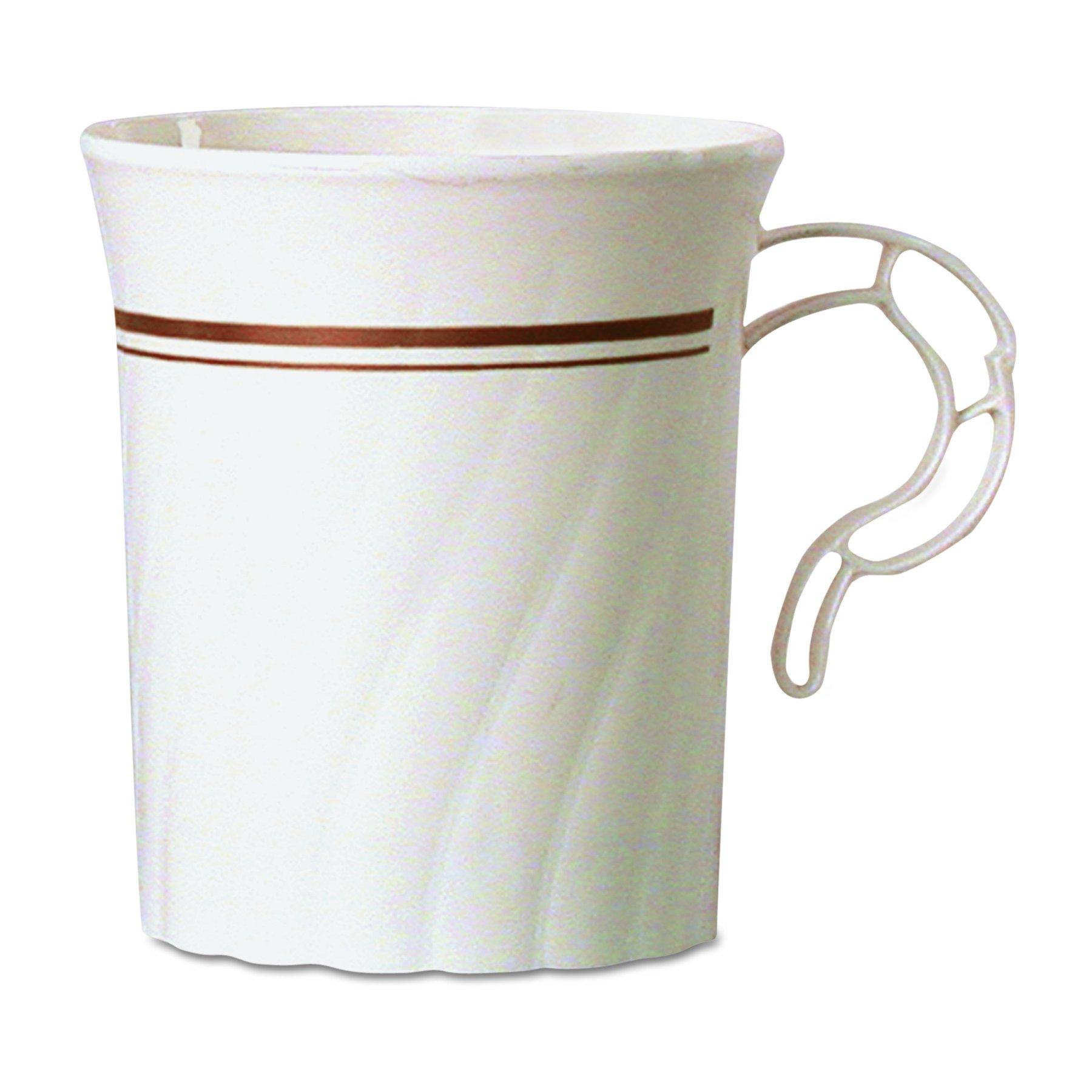 WNA CWM8192IPREM Masterpiece Plastic Mugs, 8 oz., Ivory with Gold Print (Case of 192)
