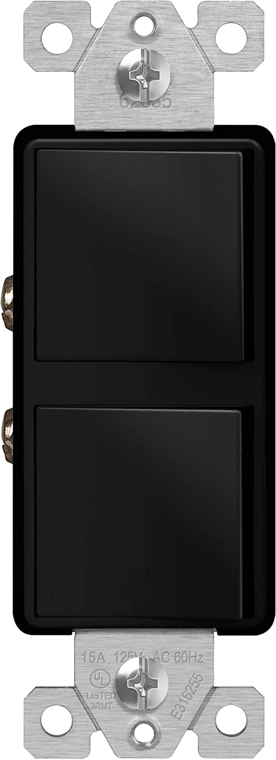 Push-In and Side Wiring Black ENERLITES Double Paddle Rocker Combination Decorator Switch 62835-BK Copper Wires Only Residential Grade Single Pole or 3-Way 15A 120-277VAC Ground Terminal