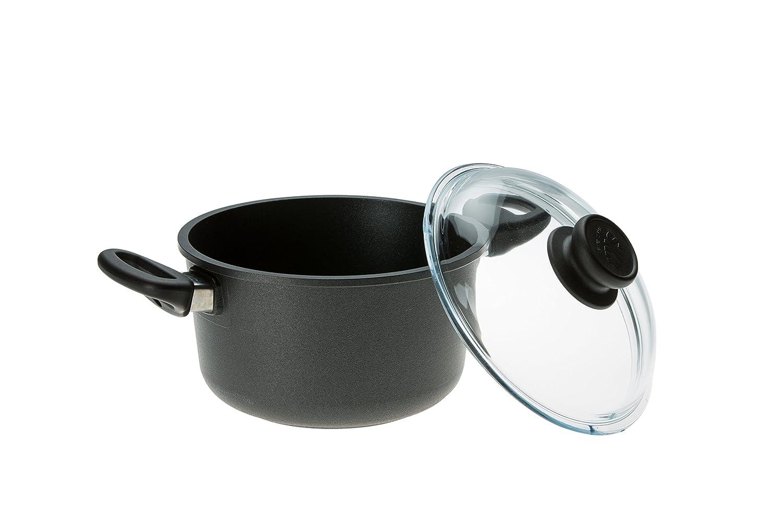 SKK 2561 titanio, hierro fundido-olla con tapa de cristal diámetro 26 cm: Amazon.es: Hogar
