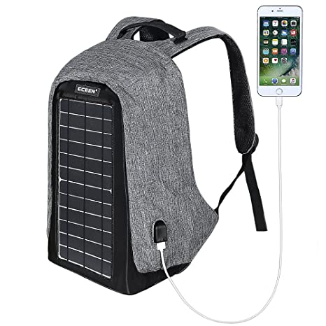 23098b64fd26 ECEEN Solar Powered Backpack with High Efficiency Solar Panel Bag Solar  Charger Pack with Voltage Regulate Charging for iPhone, iPad, Samsung,  Gopro ...