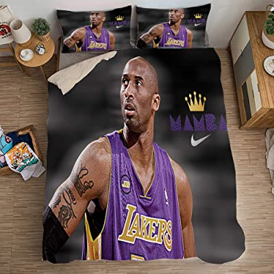 Y&C 3D Duvet Cover Set Basketball Player Kobe 24 Bryant 3 Pcs(1 Duvet Cover 2 Pillowcases) Bedding Set for Teen Boys Twin: Home & Kitchen
