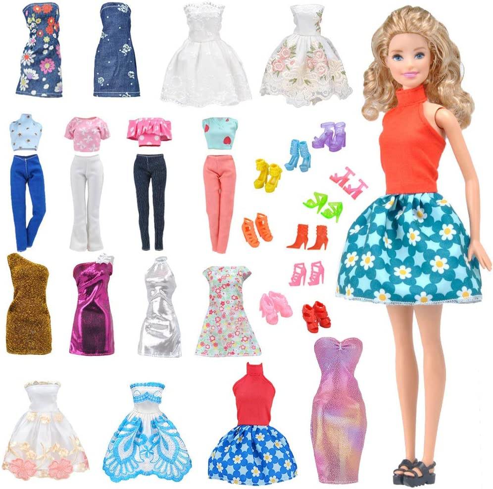 E-TING 5Pcs Mini Dress Skirt Casual Clothes Dating Wear Outfit 11.5 inch doll  S