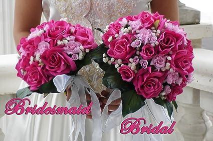 Amazon love fuschia pink roses wedding bouquet bridal package love fuschia pink roses wedding bouquet bridal package bridesmaid groom boutonniere corsage silk flowers mightylinksfo