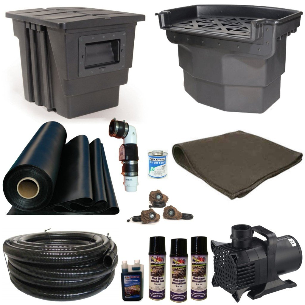 30 x 40 Mega Koi Pond Kit Atlantic Water Gardens Skimmer and Big Bahama 38 Inch Waterfall 8,000 GPH Pump MB7