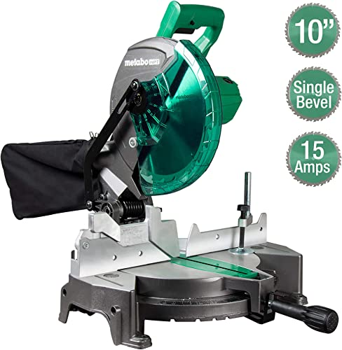 Metabo HPT Compound Miter Saw, 10-Inch, Single Bevel, 15-Amp Motor, 0-52 Miter Angle Range, 0-45 Bevel Range, Large Table, 10 24T TCT Miter Saw Blade C10FCGS