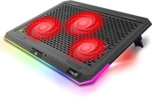 havit RGB Laptop Cooling Pad for 15.6-17 Inch Laptop with 3 Quiet Fans and Touch Control, Pure Metal Panel Portable Cooler(Red)