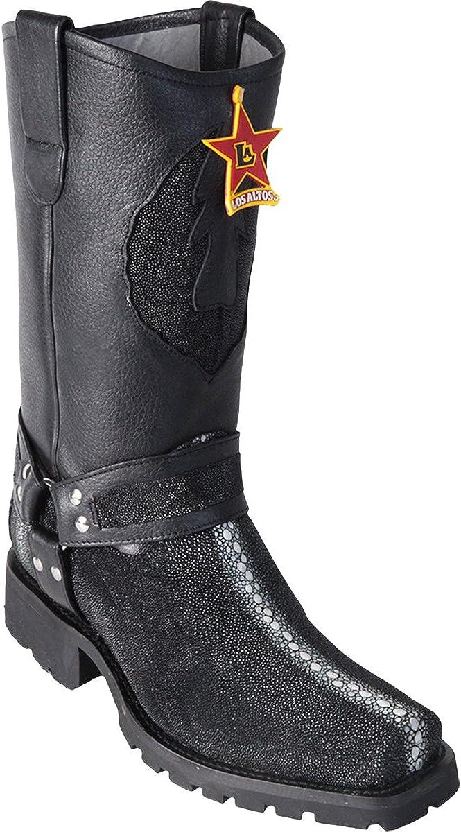 Original Black Full Pearl Stingray Leather Biker Toe Boot