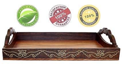 Bandeja para servir con asas hechas a mano 38.1 Centímetro bandejas de madera / Bandeja del