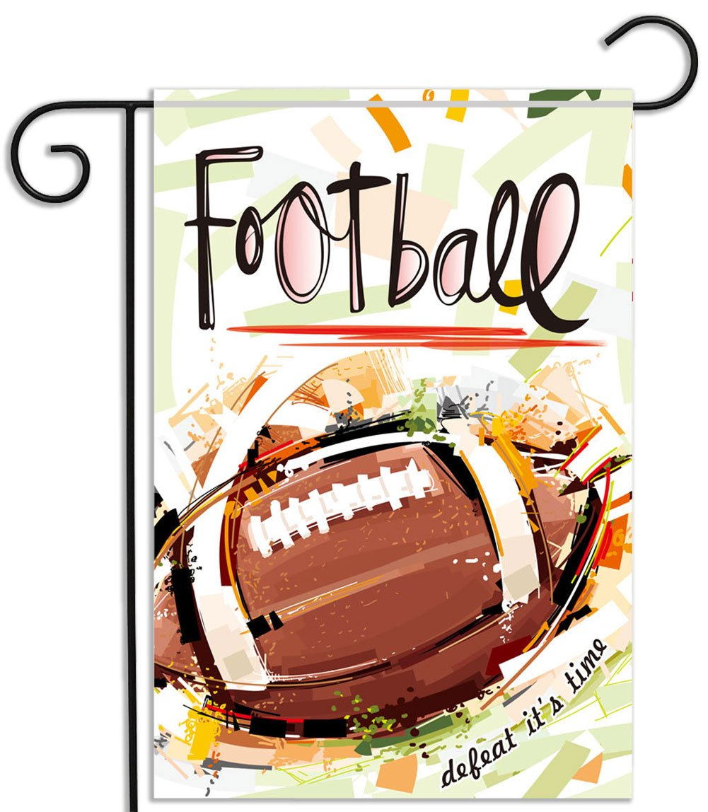 KooNicee Double Sided Football Garden Flag - Weather Resistant Yard Banner Home Decorative Sport Ball Outdoor Flag - 12.5x18 Inch Garden Decor Flags House Flags for Football Party Favor
