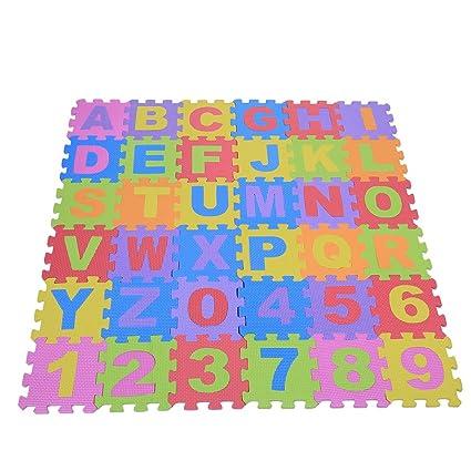 72Psc Suave EVA espuma infantil Juego Alfombrillas letras Bebé Cojín Reptantes Multicolor Suelo Cuadrada Puzzle Parte Seguridad Yoga Aptitud ...