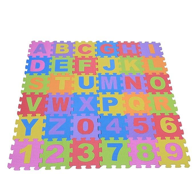 ... nº 0 de 9 & Letras A - Z Baby, Cojín Reptantes - Fregadero Reproduce Multicolor Suelo Cuadrada Matte Verriegelnde Puzzle Parte Juguete Seguridad Manta ...
