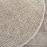 Safavieh Monterey Shag Collection SG851S-7SQ Handmade Silver Polyester Square Area Rug, 7-Feet