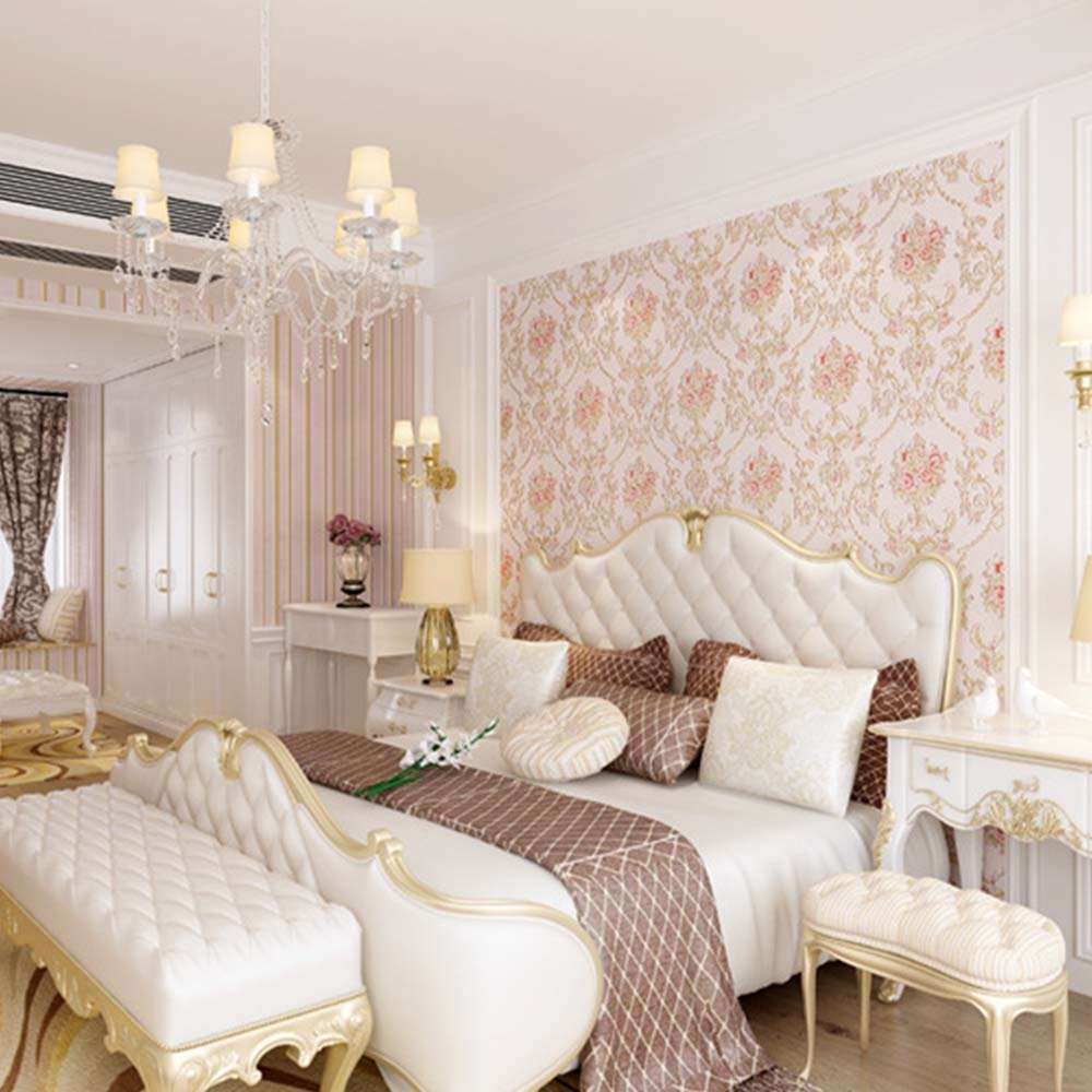 YJZ Girl Room Wallpaper 3D European Style Damask Non-Woven Wallpaper Vintage Luxury Flowers Embossed Textured Home Bedroom Livingroom,Pink by YJZ (Image #2)