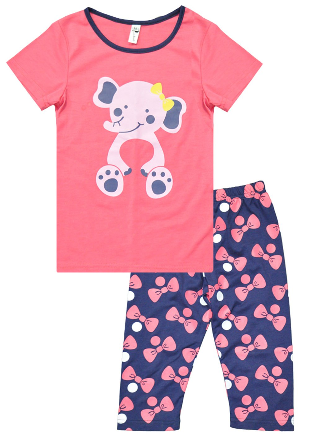 Fedpop Little Girls Spring Pyjama Sets Elephant Printed Short Sleeve Sleepwear For 2-7T