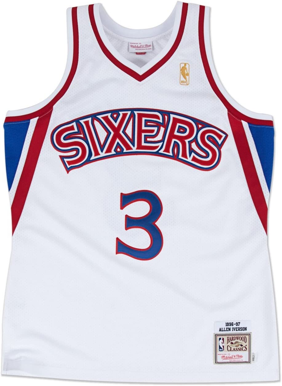 Allen Iverson Sixers 76ers Mitchell Ness 1996-97 HWC Swingman Jersey Blue Mens
