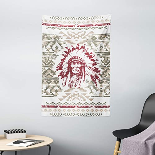 Ambesonne Art Tapestry, Retro Style Eagle Heart Chief Trail Grunge Effect and Geometric Motif, Wall Hanging for Bedroom Living Room Dorm Decor, 40 X 60 , Green Ruby