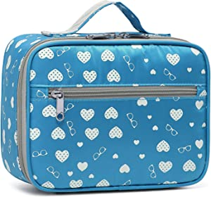 BLUEFAIRY Kids Insulated Lunch Bags for girls Lunchbag Lunch Box Food Container Carrier Reusable Small Carrying Case (Blue)