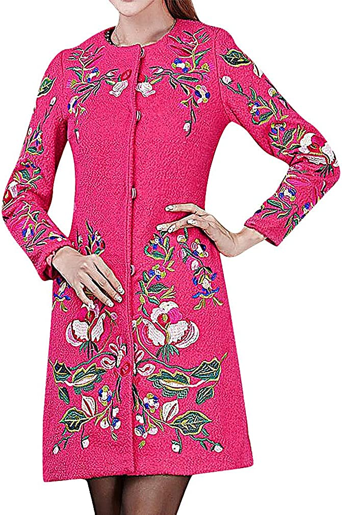 Maze Womens Thick Colorful Floral Embroidery Single Breasted O Neck Long Coat