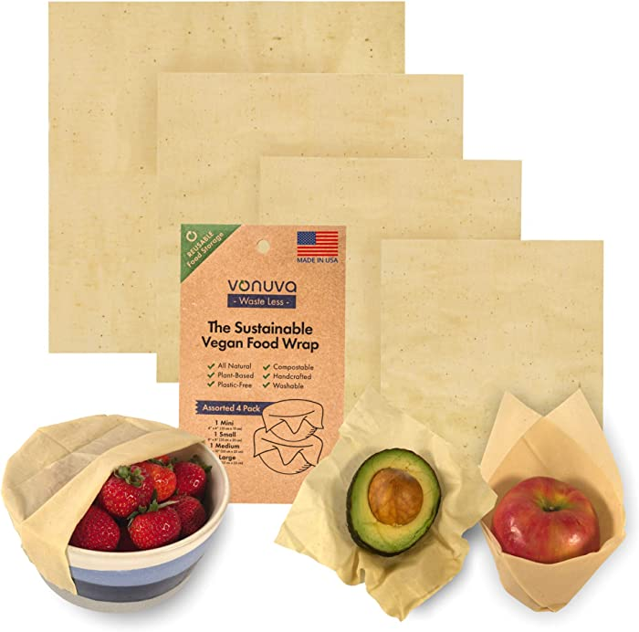 Vonuva Reusable Food Wrap - Handmade in the USA - Plant-Powered, Plastic Free Food Storage - Vegan, Eco Friendly and Zero Waste - Cruelty Free Alternative to Beeswax Wrap - Assorted 4 Pack