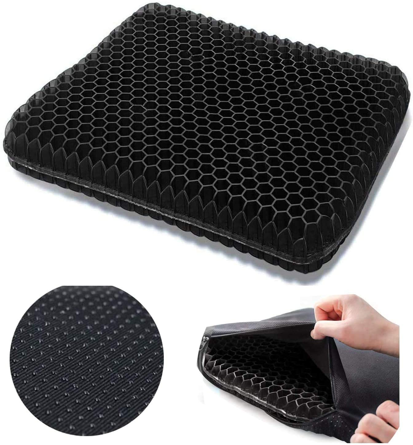 Gel Seat Cushion,Double Thick Seat Cushion,Non-Slip Cover,Help in Relieving Back Pain & Sciatica Pain,Seat Cushion for The Car,Office,Wheelchair&Chair. (Black)