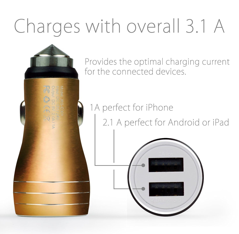 Adaptador Autom/óvil para Samsung Galaxy Apple iPhone Tablet -Negro Met/álico MyGadget Cargador de Coche Met/álico Doble Puerto USB para M/óvil 2,1A//1A