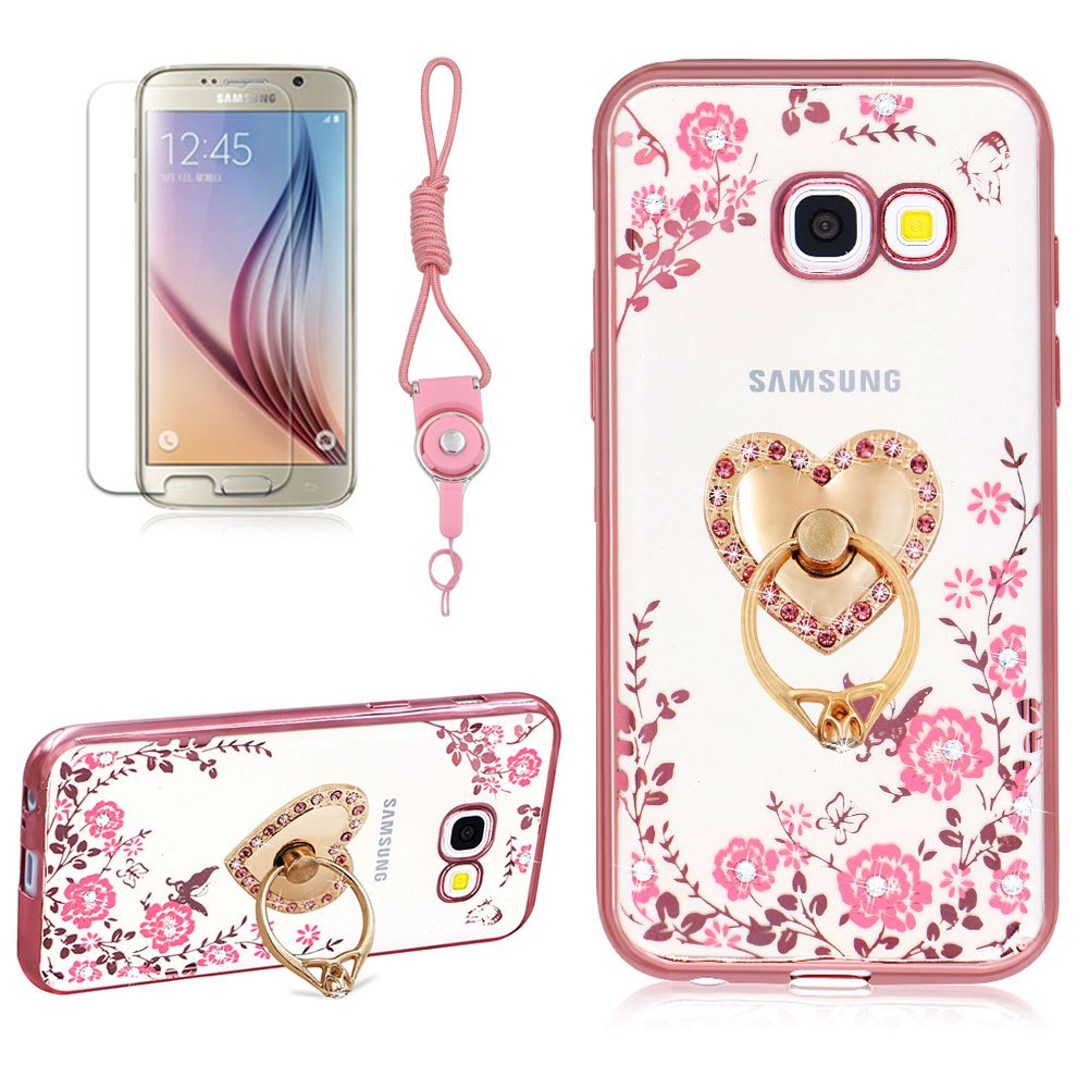 Secret Garden Case, Girlyard Bling Glitter Diamond Pink Flower Case Butterfly Clear Shiny Cover [Gold] Frame Slim Crystal Protective Case with Silver Love Stand Ring for Samsung Galaxy A5 2017(A520)