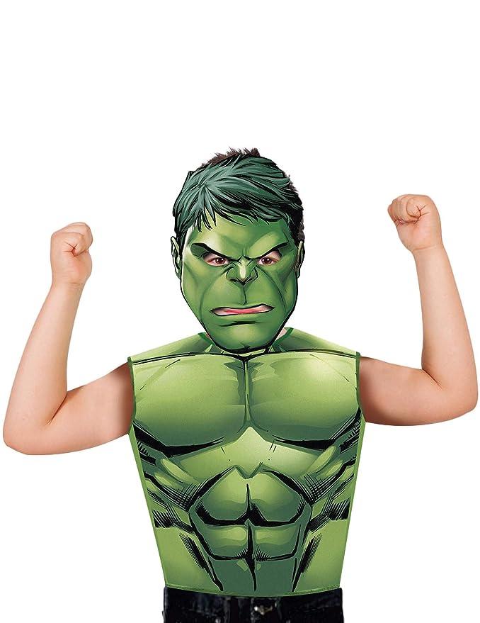 Marvel - Disfraz de Hulk set de fiesta camiseta + máscara, talla única SM 3-6 años (Rubies 620970)