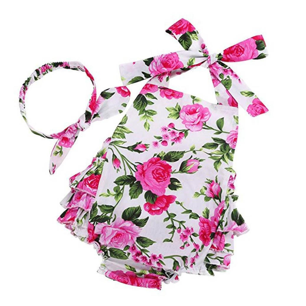 Clearance!!! Hevoiok Newborn Infant Toddler Baby Girls Romper Cute Sweet Floral Print Ruffle Sleeveless Jumpsuit + Headband 2Pcs Clothes Sets Outfits