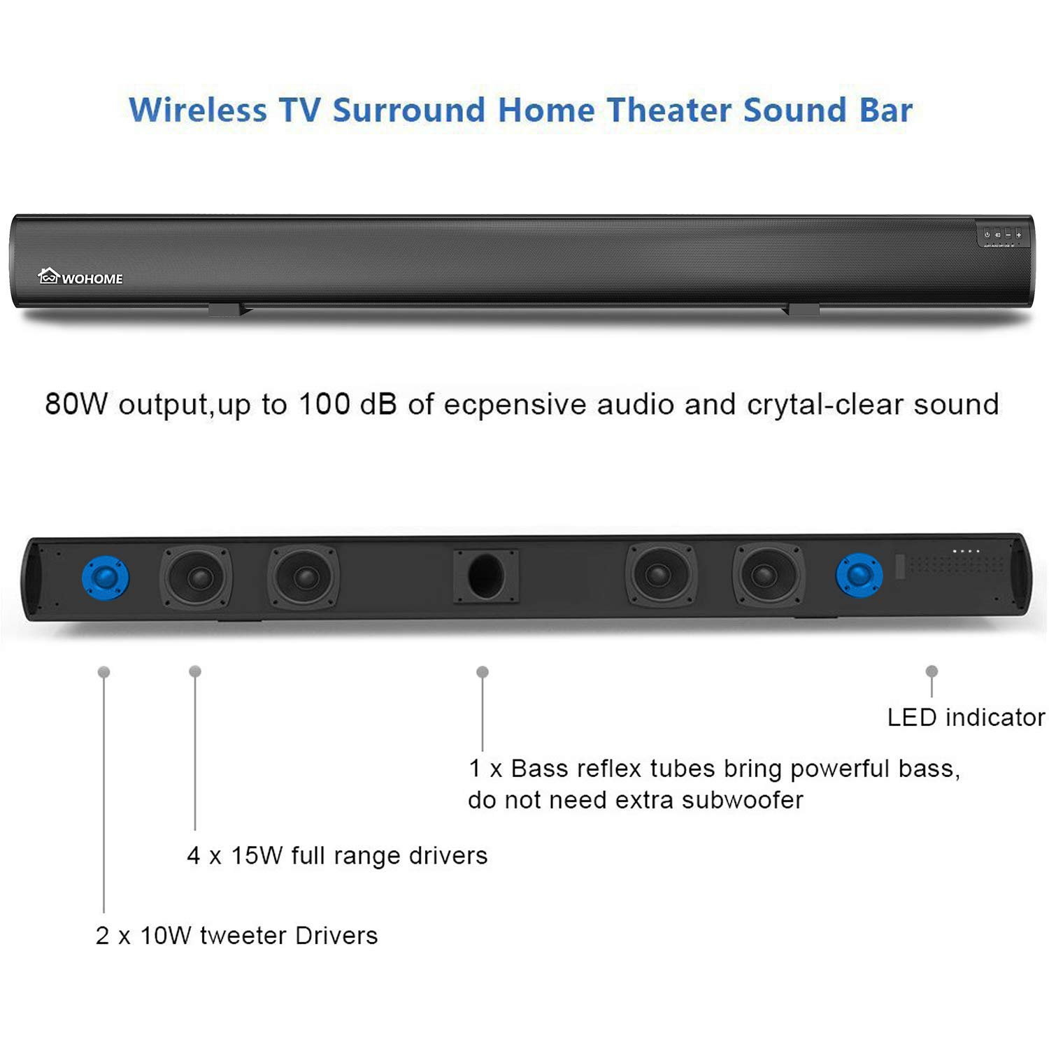 Soundbar Wohome TV Sound Bar Wireless Bluetooth Home Theater Surround  Speaker System with Remote Control 34 Inch 6 Drivers 80W 100 dB 2019  Updated