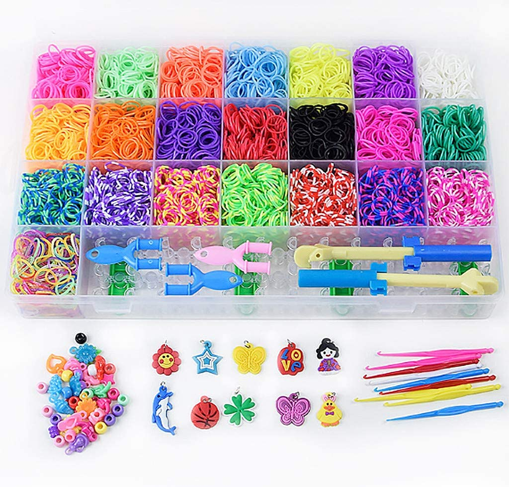 Kiorc Multicolor DIY Rainbow Knitting Suit for Girls Braided DIY Bracelet and Ring Knitted Suit