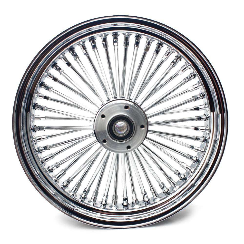 TARAZON 16 x 3.5 Chrome Front Wheel Fat King Spoke Wheel for Harley DYNA Softail Electra Glide Sportster and Customs, 1'' Seal Bearings and 2.25'' Center Hub by TARAZON