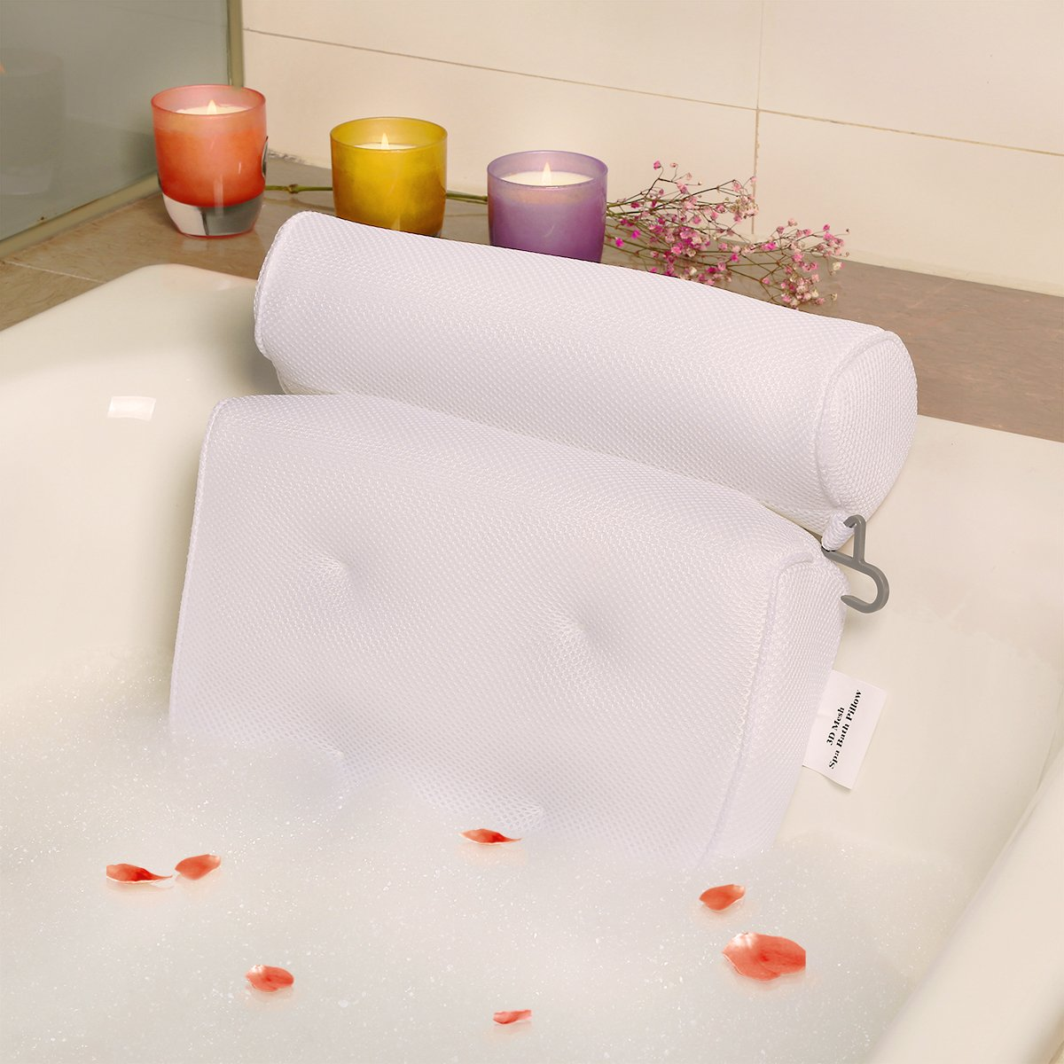 Bath-tub Pillow for Home Spa and Rest, Relaxation Bath tub Cushion with Strong Suction Cups, Mold & Mildew Resistant, 2-Panel Odor Free Bath Pillows - White