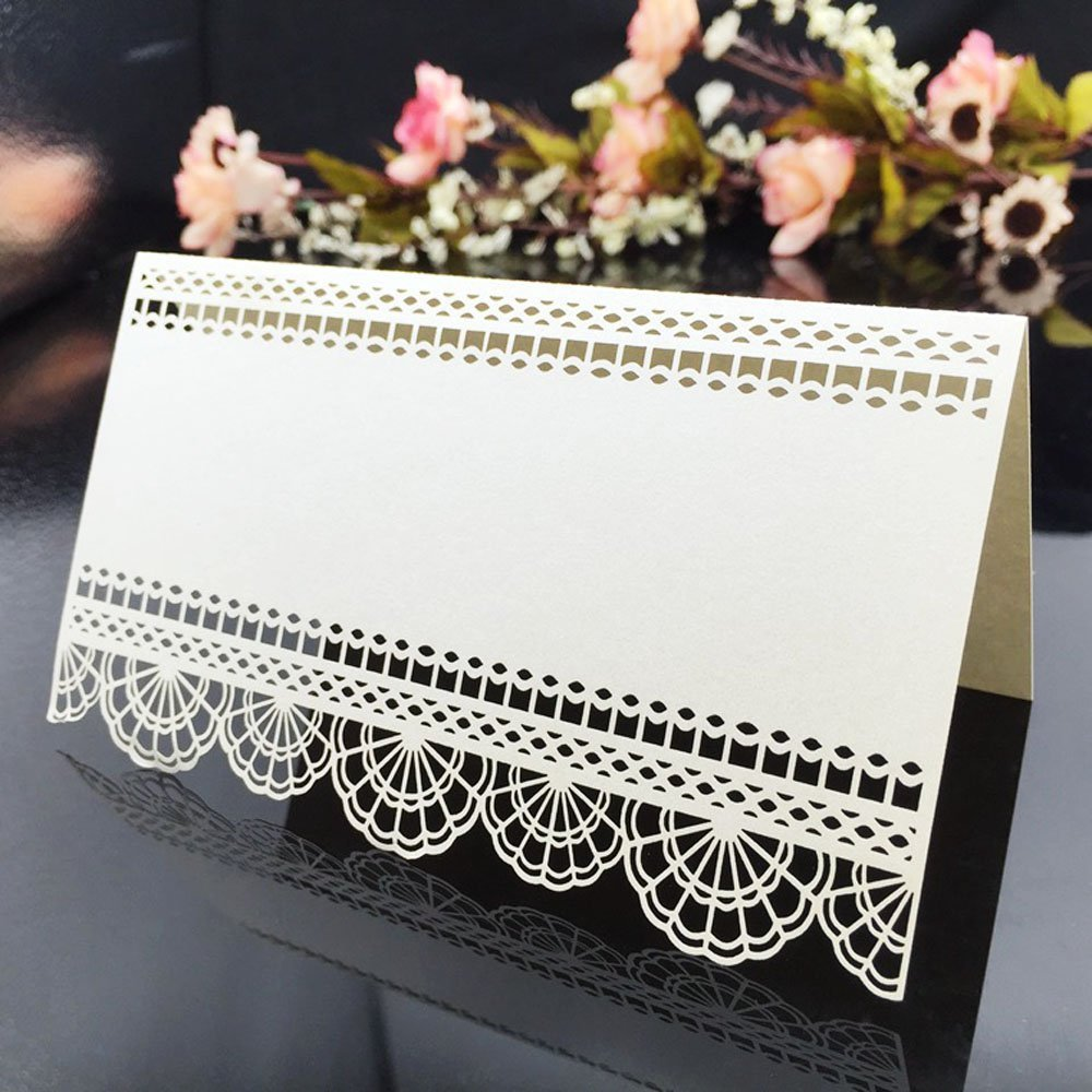 Anself 20pcs Lace Laser Cut Place Card for Wedding Celebration Birthday Party Decoration