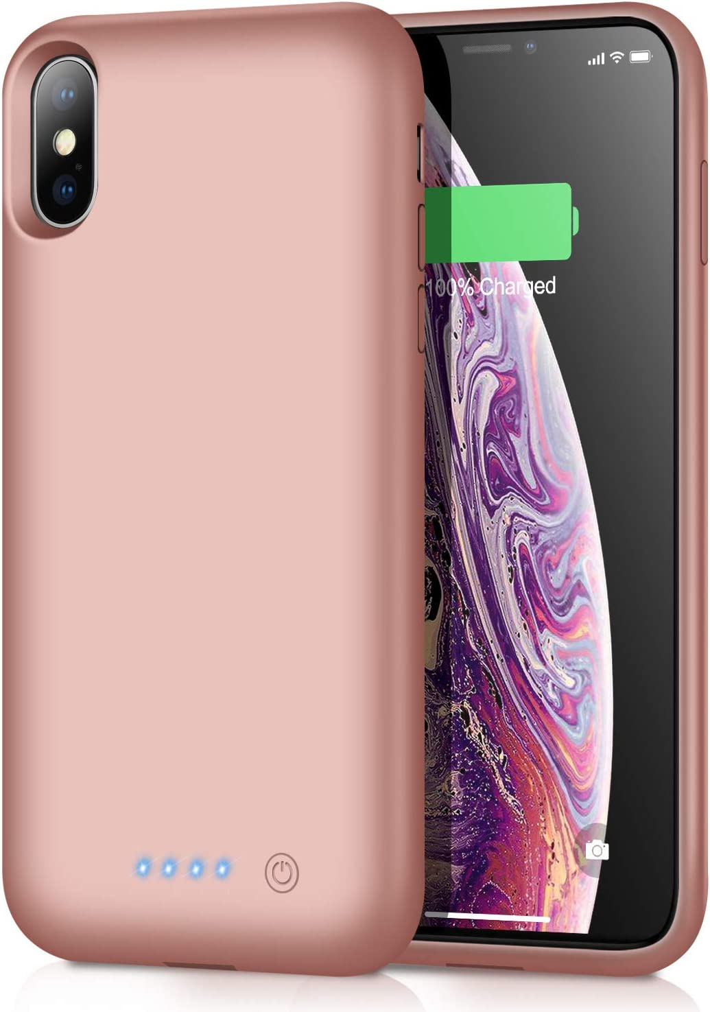 Battery Case for iPhone Xs MAX, 7800mAh Portable Battery Pack Ultra Rechargeable Smart Case Protective Battery Charging Case for iPhone Xs MAX External Battery Backup Cover(6.5 inch) - Rose Gold