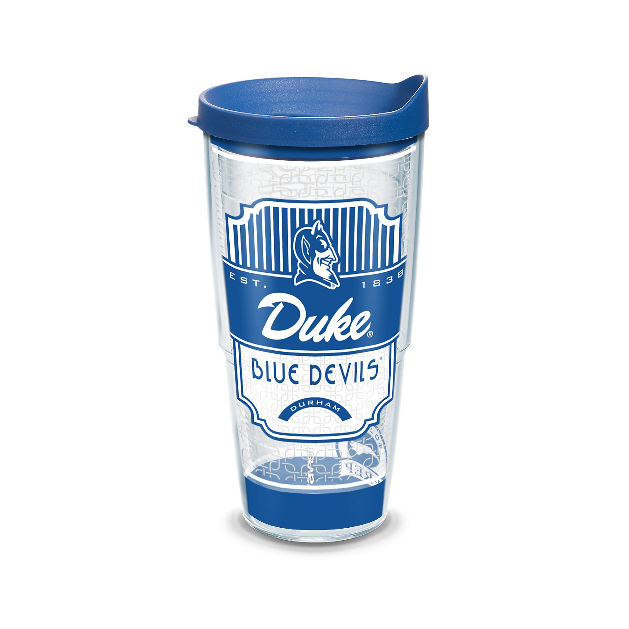 Tervis 1230218 Duke Blue Devils Pregame Prep Tumbler with Wrap and Blue Lid 24oz, Clear