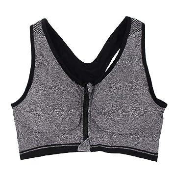 SHUCHANGLE Mujeres Sujetador Deportivo A Prueba De Choques Running Yoga Vest Ropa Interior Fitness Cremallera Frontal Push Up Seamless: Amazon.es: Deportes ...
