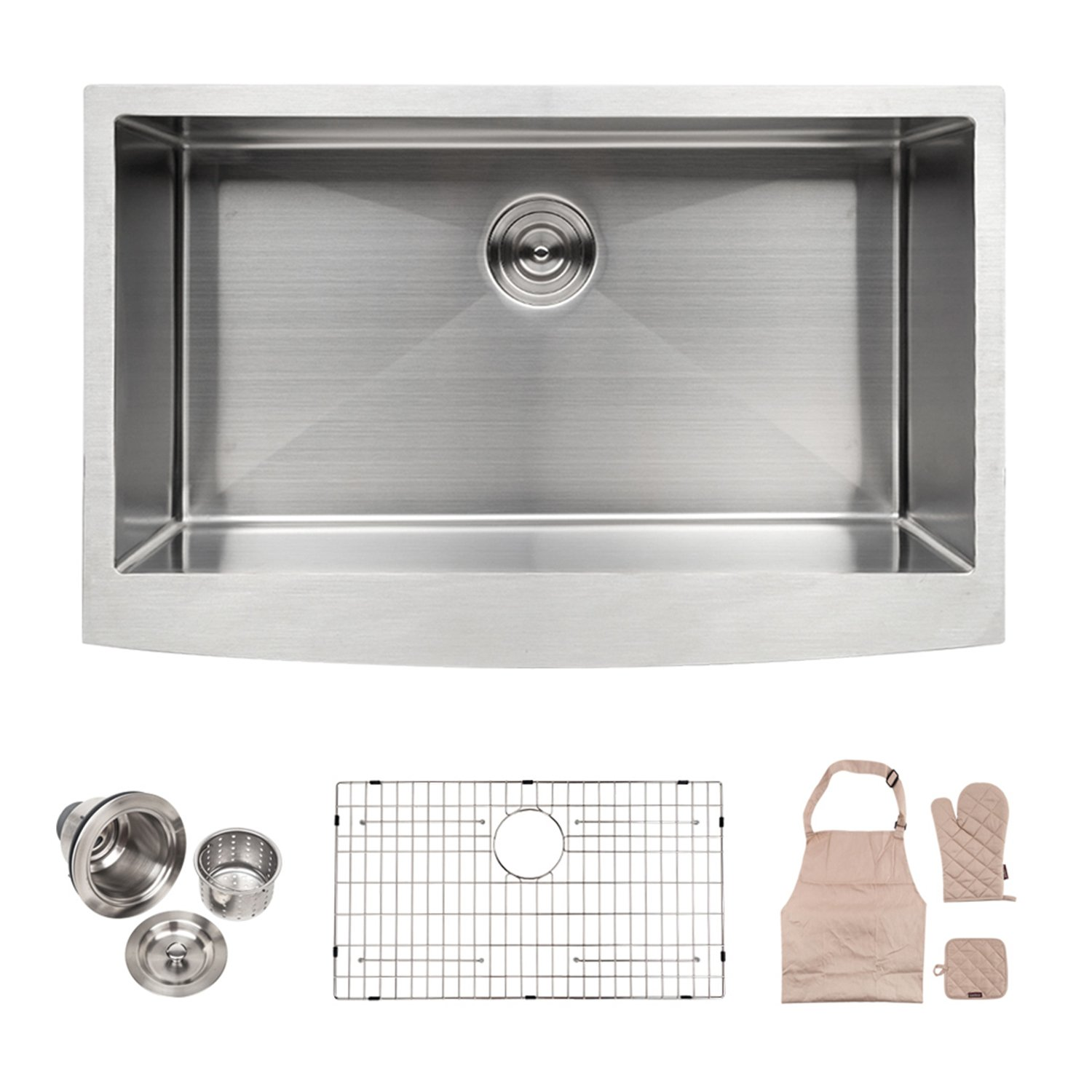 LORDEAR SLJ16003 Commercial 33 Inch 16 Gauge 10 Inch Deep Drop In Stainless Steel Undermout Single Bowl Farmhouse Apron Front Kitchen Sink, Brushed Nickel Farmhouse Kitchen Sink by Lordear (Image #1)