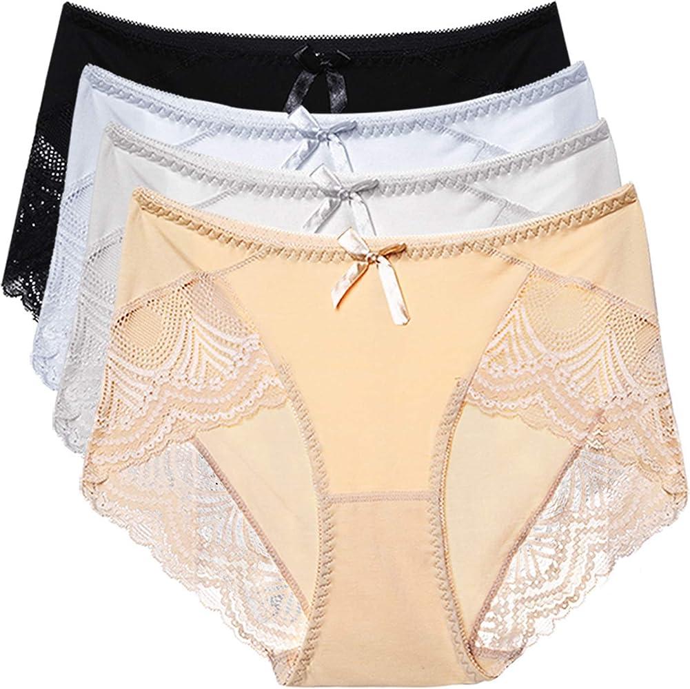 HOKEMP Braguitas Culotte Algod¨®n para Mujer Shapewear Braga Basica de Cintura Alta C¨®Modo Shorts Algodon Altas de Encaje Pack de 4: Amazon.es: Ropa y accesorios