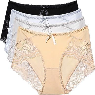 20e7a91be075 HOKEMP Womens Cotton Knicker Underwear High Waist Panties Lace Hi Cut Panty  Briefs 4 Pack,