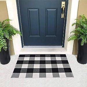 """Purcoton Cotton Buffalo Check Rug, Buffalo Plaid Rug (23.6""""x35.4""""), Buffalo Checkered Rug, Hand-Woven Plaid Rugs for Welcome Door Mat Porch/Kitchen/Bathroom/Entry Way (Black and White Rug)"""