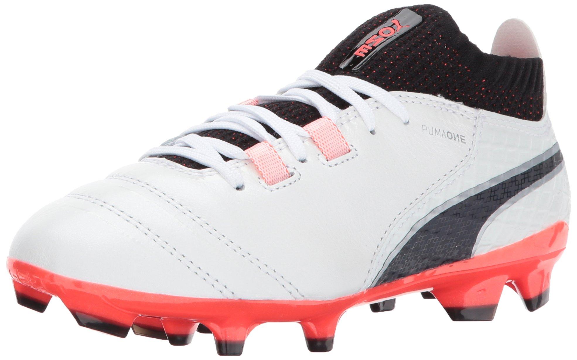 PUMA Unisex ONE 17.1 FG Jr Soccer Shoe, White Black-Fiery Coral, 5.5 M US Big Kid