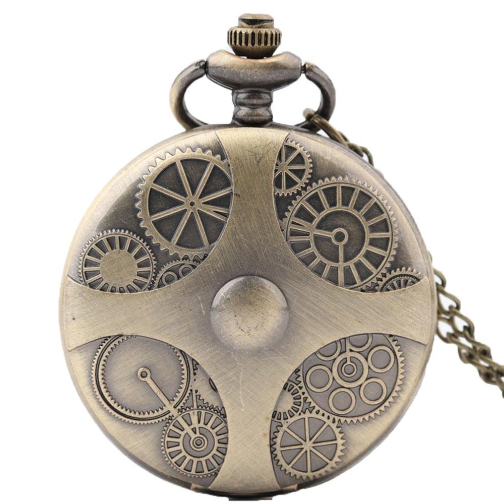 Shirleyle Bronze Flip Vintage Quartz Pocket Men Women Retro Watch With Chain